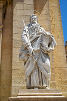 A statue of St. Paul in front of Collegiate Church of St Paul in Rabat, Malta
