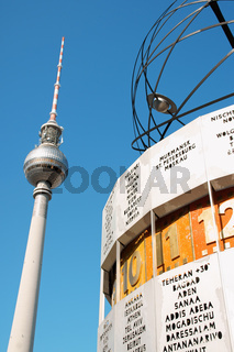Television tower and Die Urania the atomic world clock in Berlin