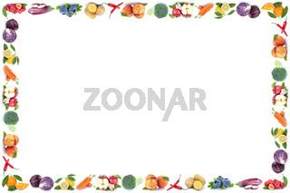 Obst und Gemüse Früchte Rahmen Textfreiraum Copyspace Apfel Orange Freisteller freigestellt isoliert