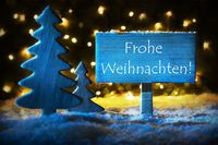 Blue Tree, Frohe Weihnachten Means Merry Christmas