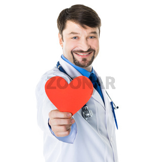 Doctor hold paper heart