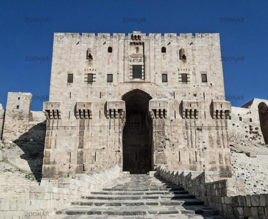 citadel fortress gate landmark in central old aleppo city syria