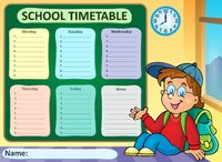 Weekly school timetable theme 6 - picture illustration.