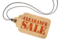 clearance sale sign on isolated price tag