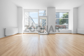 empty room, shop interior with shopping window
