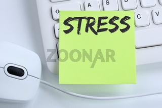 Stress im Job Burnout Entspannung Erschöpfung Business Konzept Maus