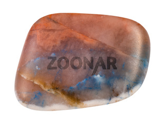 tumbled Irnimite gemstone isolated on white