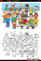 boys characters group coloring book