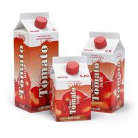 Tomato juice carton cardboard box pack isolated on white background.