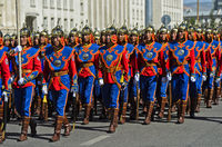 Mongolian Armed Forces Honorary Guard in traditional uniform, Ulaanbaatar, Mongolia