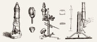 Old microscopes by  Adams, Selligue