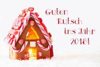 Gingerbread, White Background, Guten Rutsch Means New Year 2018