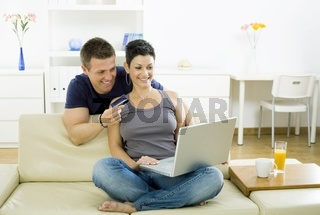 Couple shopping on internet