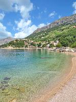 Beach of of Brela at adriatic Sea,Makarska Riviera,Dalmatia region,Croatia