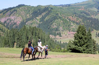 Horse Riders in Jety Oguz Valley, Terskej Alatoo Mountains, Kyrgyzstan