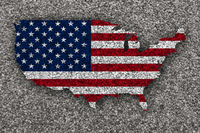 Karte und Fahne der USA auf Mohn - Map and flag of the USA on poppy seeds