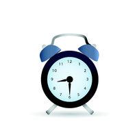 Classic dark alarm clock over white background