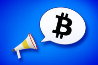 megaphone and speech bubble with a bitcoin sign