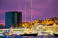 Luxury yachts on Split waterfront evening view