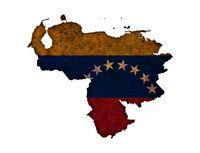 Karte und Fahne von Venezuela auf rostigem Metall - Map and flag of Venezuela on rusty metal