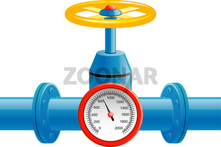 Gas pipe valve and pressure meter
