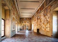 Hall in the castle Torrechiara. Italy