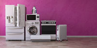 Set of household home appliancess on pink background. Kitchen technics in the new appartments. E-commerce online internet store and delivering of appliances concept.