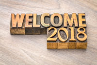 Welcome 2018 - banner in wood type