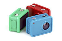 Three action cameras on white