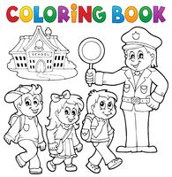 Coloring book pupils and policeman