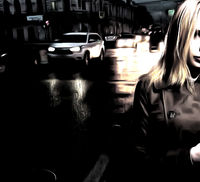 Young woman in the night street in front of carlights, watercolor painting, loneliness and sad mood concept