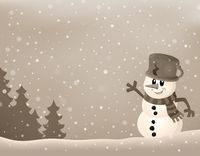 Stylized winter image with snowman 2