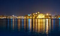 The night view of Grand Harbour and Senglea peninsula, Malta