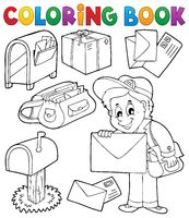 Coloring book with postman thematics