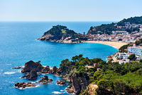 Picturesque view of a Vila Vella, the oldest part of the town of Tossa del Mar, Costa Brava, Catalonia, Spain