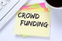Crowd Funding Crowdfunding online Geld sammeln Internet Business Schreibtisch
