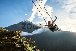 The Swing At The End Of The World Located At Casa Del Arbol, The Tree House In Banos De Aqua Santa, Ecuador