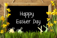 Narcissus, Egg, Bunny, Text Happy Easter Day