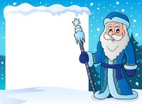 Snowy frame with Father Frost