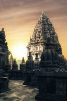 Sunrise at Prambanan Hindu Temple. Java, Indonesia