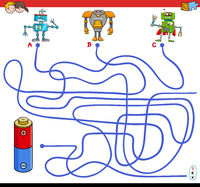 paths maze game with robots and battery