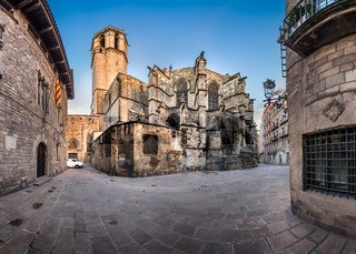 Panorama of Cathedral of the Holy Cross and Saint Eulalia, View from Freneria Street, Barcelona, Catalonia, Spain