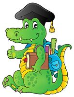 School theme crocodile image 1