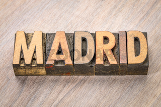 Madrid word abstract in wood type