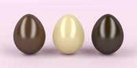 Three chocolates eggs