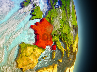 France in red from space