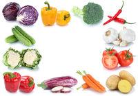 Gemüse Rahmen Textfreiraum Copyspace frische Tomaten Paprika Karotten