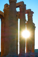 Silhouettes of ancient columns