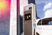 Charging station for e-cars with facade of a skyscraper