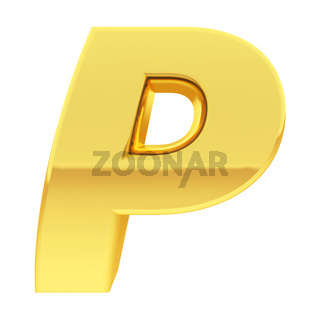 Gold alphabet symbol letter P with gradient reflections isolated on white. High resolution 3D image